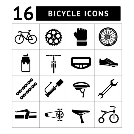 Set icons of bicycle, biking, bike parts and equipment isolated on white Illustration