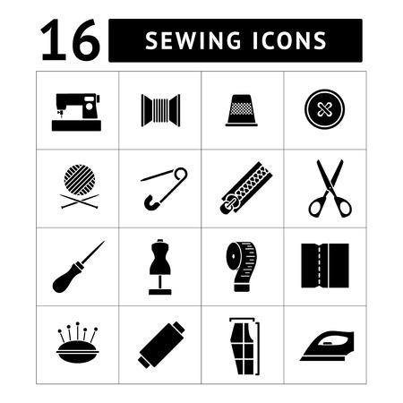 Set iconen van naaien op wit wordt geïsoleerd Stock Illustratie