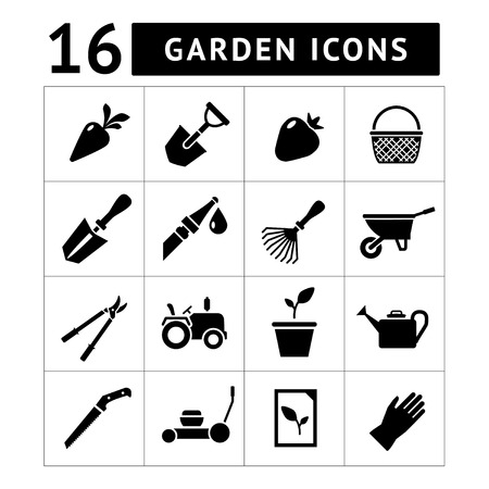 Set icons of garden isolated on white Vector