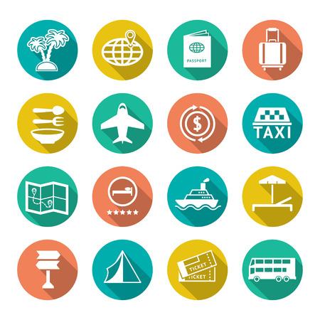 Set vlakke pictogrammen van reizen, toerisme op wit wordt geïsoleerd Stock Illustratie