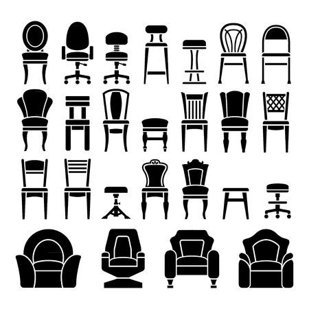 Conjuntos de iconos de sillas aisladas en blanco