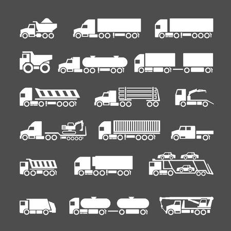 회색에 고립 된 트럭, 트레일러 및 차량의 아이콘을 설정