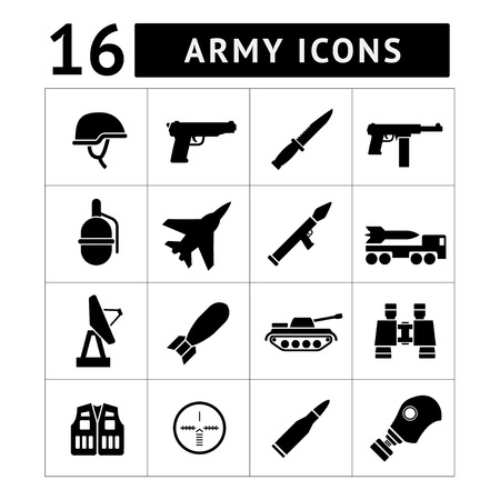 Set icons of army and military isolated on white Vector