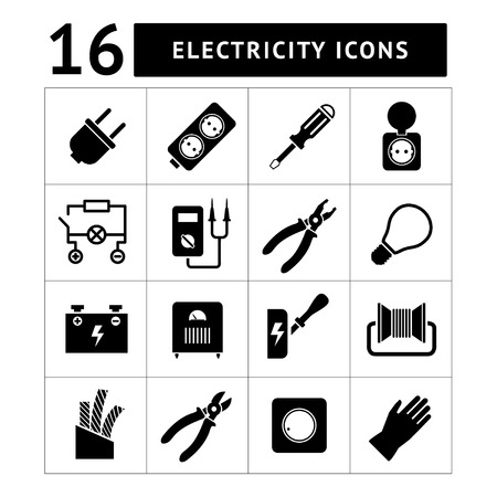 Set icons of electricity isolated on white