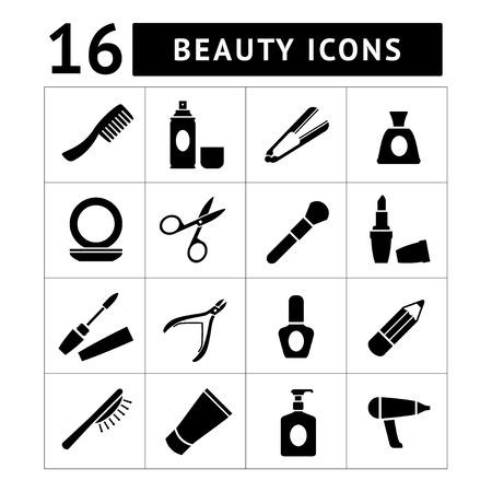 Set iconen van schoonheid en cosmetica op wit wordt geïsoleerd