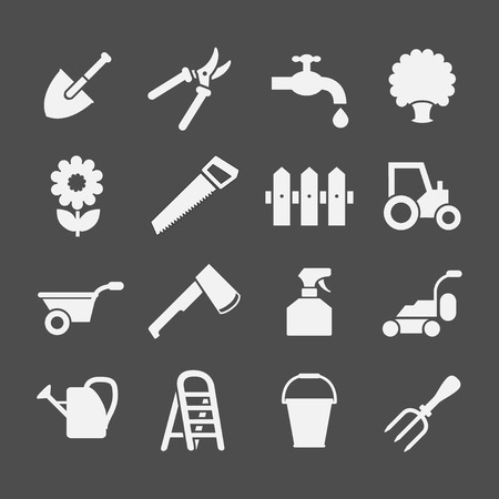 Set iconen van de tuin en boerderij geïsoleerd op grijs Stock Illustratie