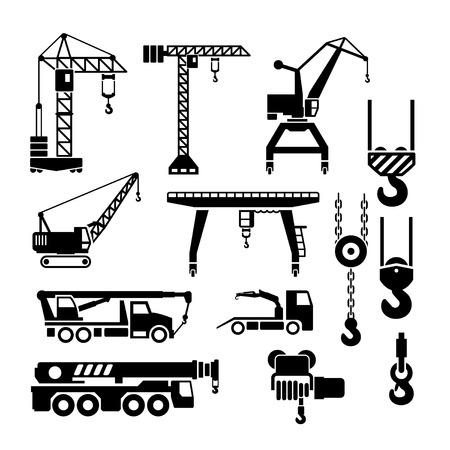 camion grua: Fije los iconos de la grúa, elevadores y cunas de aislados en blanco