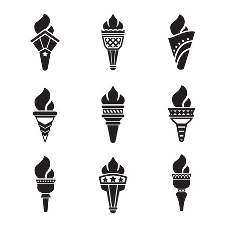 Set icons of torch isolated on white Illustration