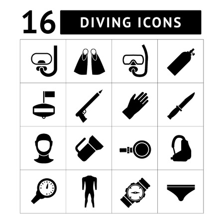 oxygen mask: Set icons of diving isolated on white