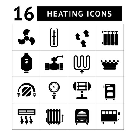 heater: Set icons of heating isolated on white Illustration