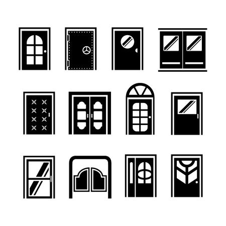 Set icons of doors isolated on white Vector