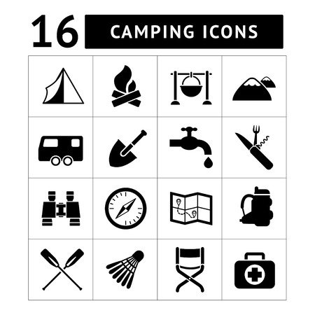 campfires: Set icons of camping isolated on white Illustration