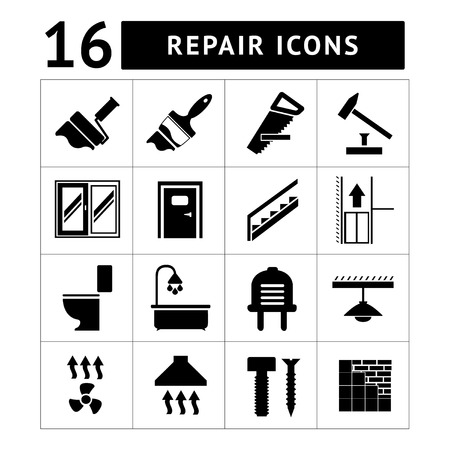 Set icons repair and building isolated on white Vector