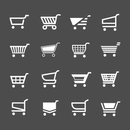 add to shopping cart icon: Set of shopping cart icons isolated on grey