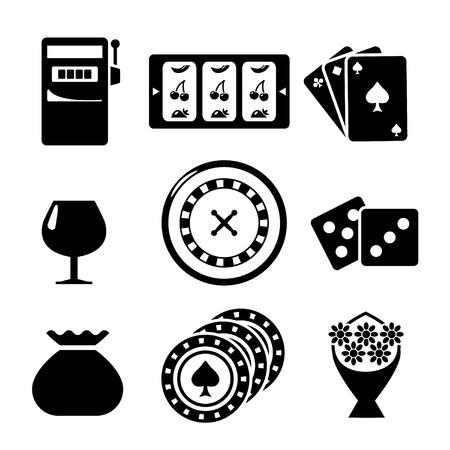 Set icons of casino isolated on white Vettoriali