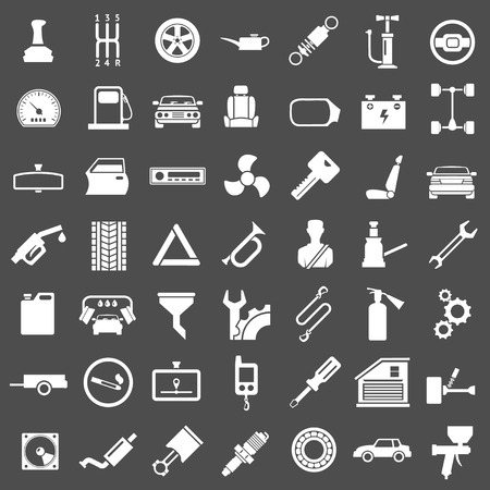 machine part: Set icons of auto, car parts, repair and service isolated on grey