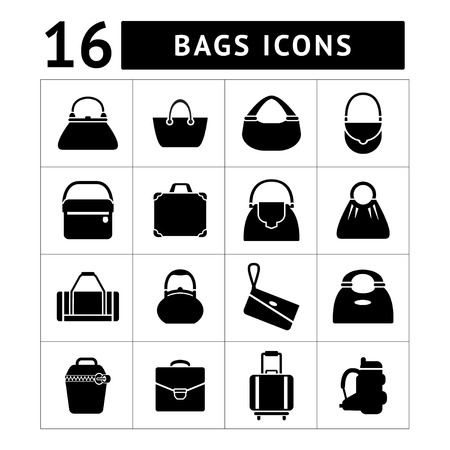 Set iconen van zakken op wit wordt geïsoleerd Stock Illustratie