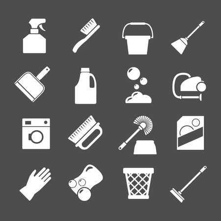 cleaning products: Set icons of cleaning isolated on grey Illustration