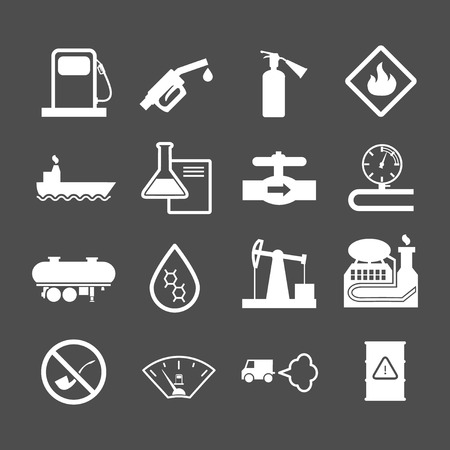 derrick: Oil industry and petroleum icons set isolated on grey