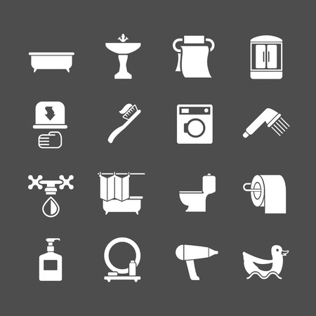 Set icons of bathroom and toilet isolated on grey Vector