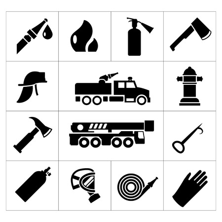Set icons of firefighter and fireman isolated on white Illustration