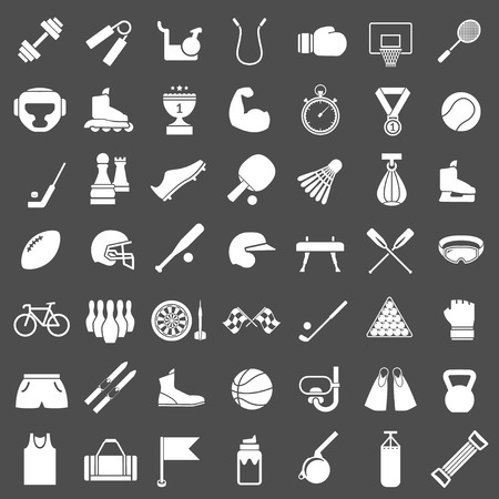 sports equipment: Set icons of sports and fitness equipment isolated on grey
