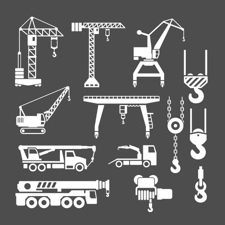 heavy machinery: Set icons of crane, lifts and winches isolated on grey Illustration