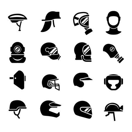 Set iconen van helmen en maskers geïsoleerd op wit Stock Illustratie