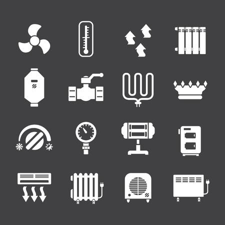 radiator: Conjuntos de iconos de calefacción aisladas en negro Vectores