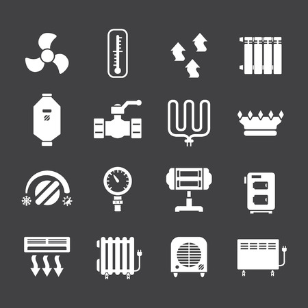 heater: Set icons of heating isolated on black