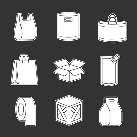 packaging design: Set of package icons isolated on black Illustration