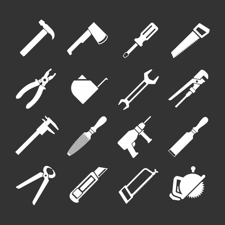 calipers: Set icons of tools isolated on black