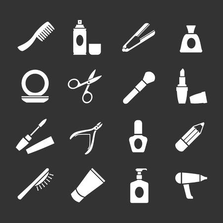 Set iconen van schoonheid en cosmetica geïsoleerd op zwart Stock Illustratie