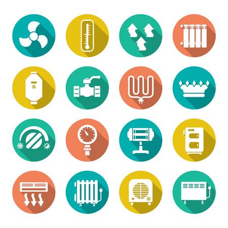 radiator: Fije los iconos planos de calefacción aislados en blanco
