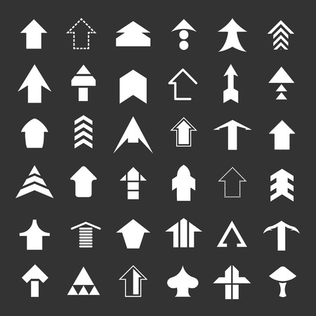 Set icons of arrows isolated on black Vector