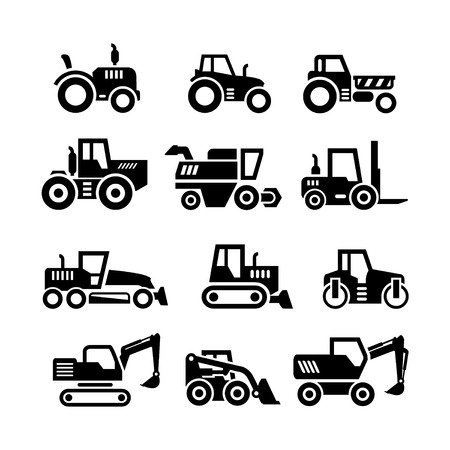 Set icons of tractors, farm and buildings machines, construction vehicles isolated on white Vettoriali