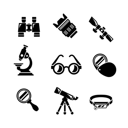 Set icons of optics equipment isolated on white Vector