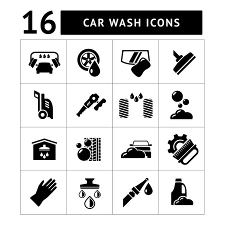 cleaning windows: Set icons of car wash isolated on white