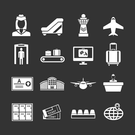 airport lounge: Set icons of airport isolated on black