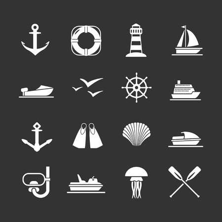 Set icons of sea, beach and travel isolated on black Stock Vector - 29301793