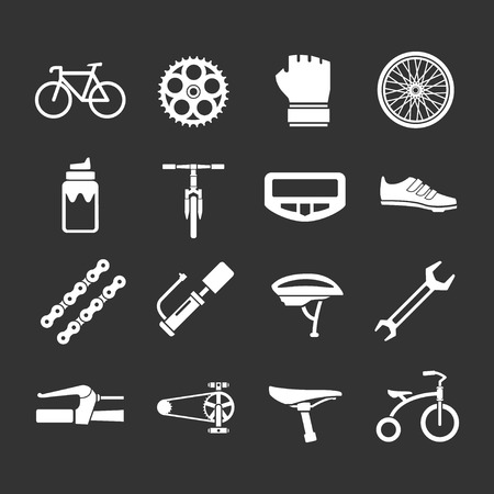 Set icons of bicycle, biking, bike parts and equipment isolated on black