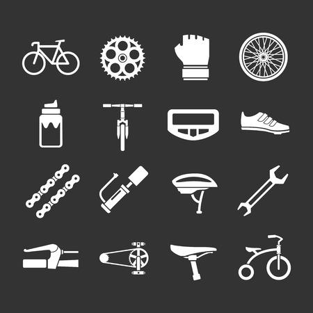 mountain bicycle: Set di icone di biciclette, mountain bike, parti della bici e attrezzature isolato su fondo nero