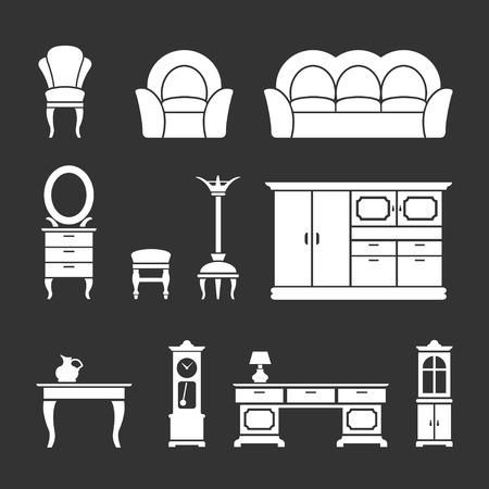 Set icons of retro furniture and home accessories isolated on black Vector