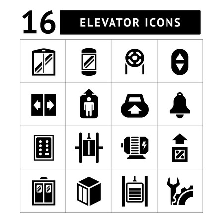 an elevator: Set icons of elevator and lift isolated on white