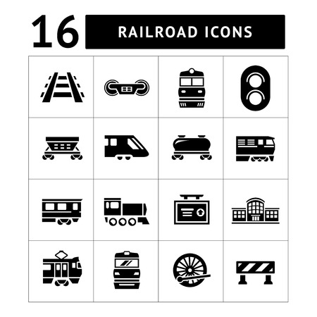 Set icons of railroad and train isolated on white Çizim