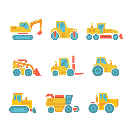 Set modern flat icons of tractors, farm and buildings machines, construction vehicles isolated on white Vector