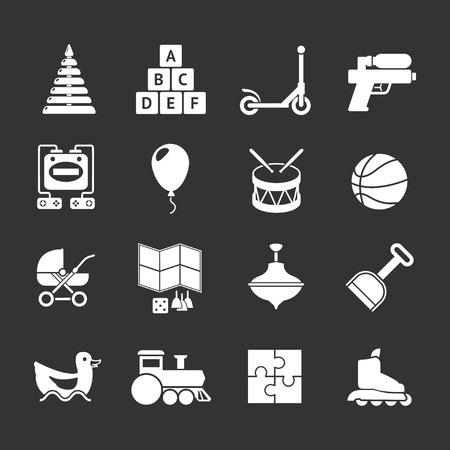 baby blocks: Set icons of toys isolated on black