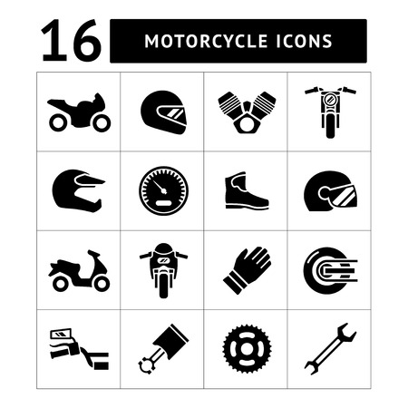 Set icons of motorcycle isolated on white Vector