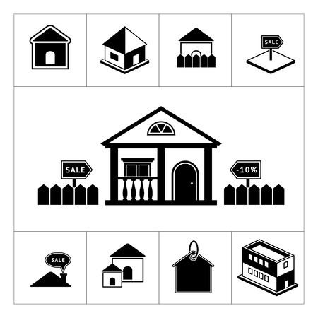 Set of house icons. Real estate and building collection isolated on white Vector