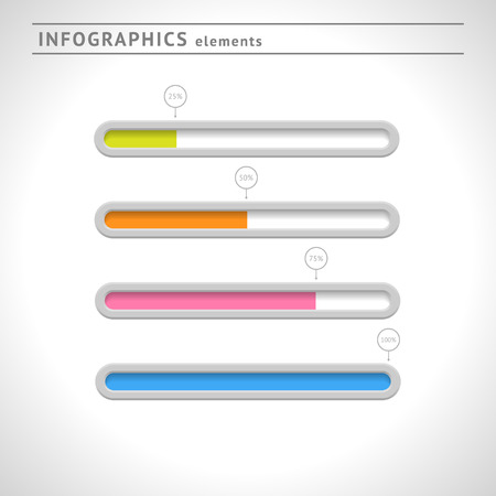 progress: Download bars and progress indicators for infographics and web Illustration